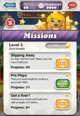 Mission list, with one mission completed